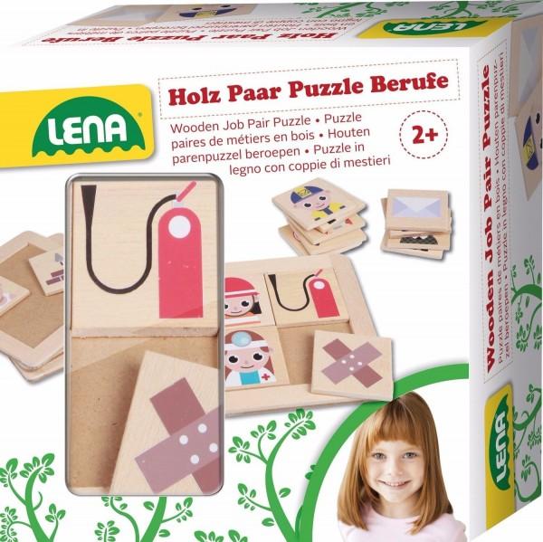 Lena 32166 - Holzspielzeug Paar Puzzle Berufe aus 100% FSC Holz