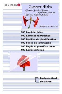 Laminierfolien 100 Stück Visitenkarten