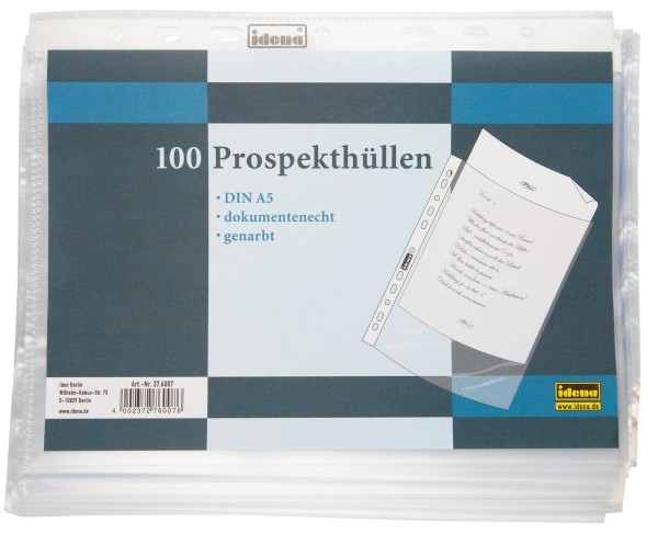Idena Prospekthülle A5 100er, genarbt, Folienstärke