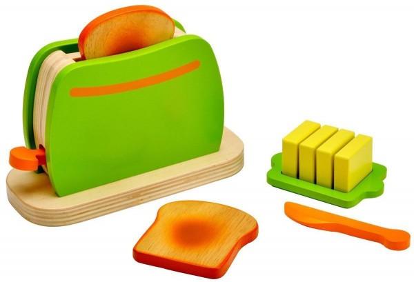 Idena Kleine Küchenmeister Toaster aus Holz, 9-teilig