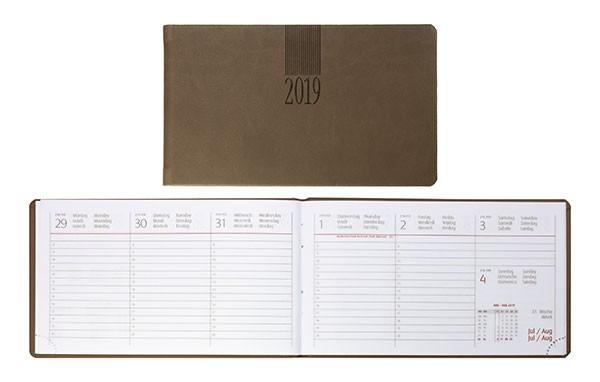 Idena Minitimer 2019, Hardcover, samtweiche Oberfläche, braun Taschenkalender