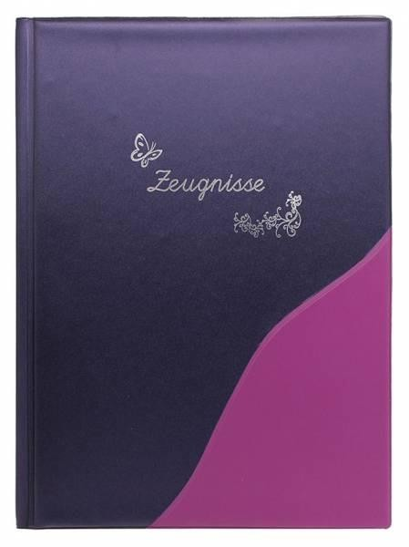 IDENA Zeugnismappe A4 , 12 Hüllen Metallic lila