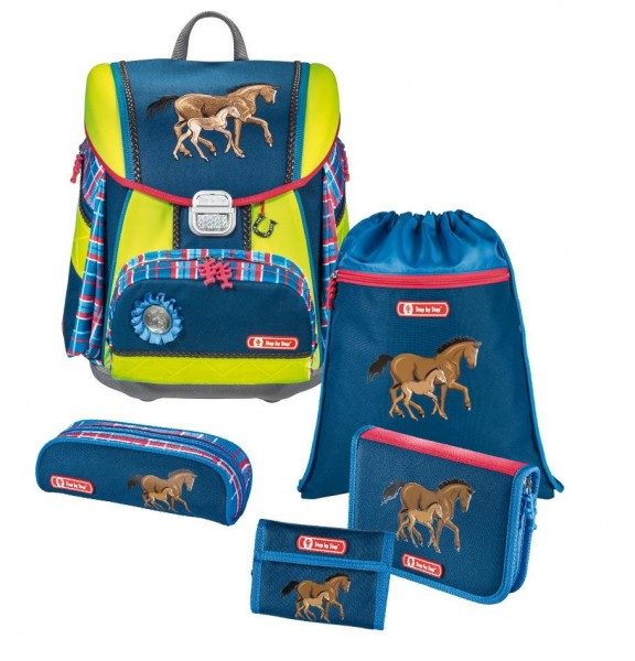 """Step by Step TOUCH DIN Schulranzen Set """"Horse Family"""", 5-teilig"""