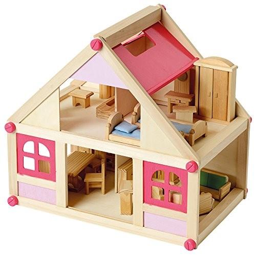 Beluga 70131 Puppenhaus mit Möbel Holz, 27 Teile