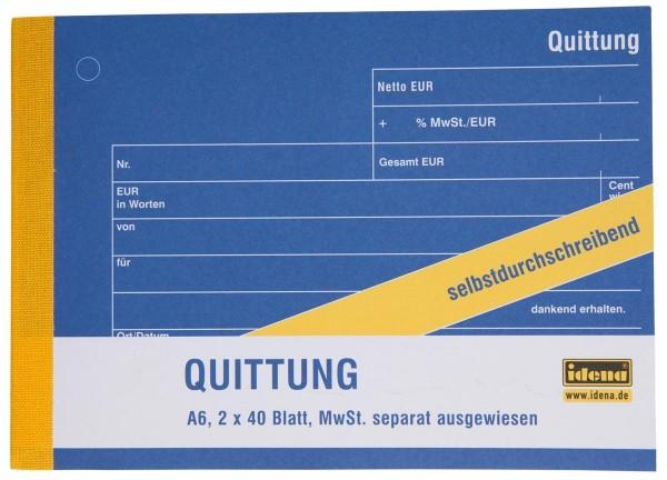 Idena Quittung A6 Quer mit MwSt, 2x40 Blatt