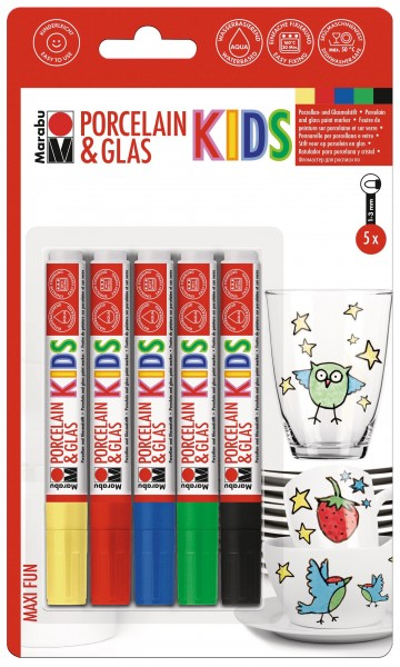 Marabu Porcelain & Glas KIDS, Maxi Fun 5er Sortierung, Universalspitze 1 - 3 mm
