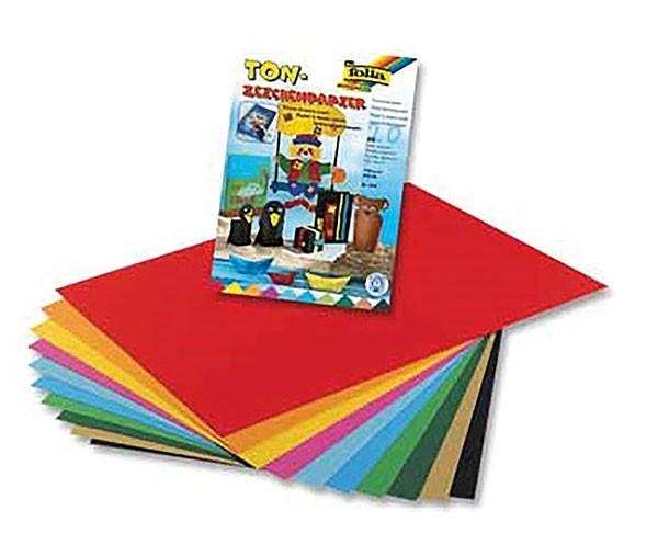 Folia Tonzeichenpapier 130g/m², DIN A4, 20 Blatt, 10 Farben
