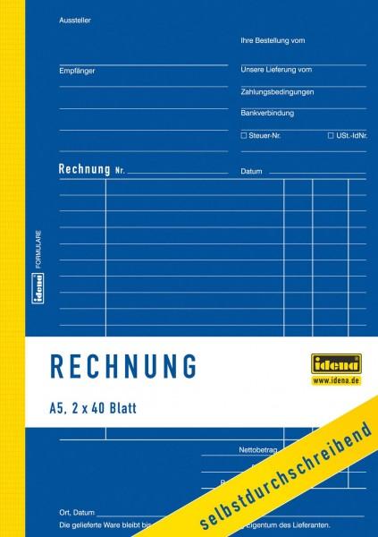 Idena Rechnungsbuch Rechnung A5 2x40 Blatt
