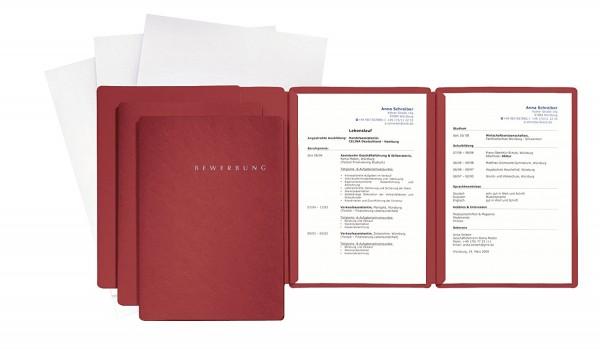 Pagna 3er Bewerbungsmappen Set rot Spezial 3.tlg mit Umschlag