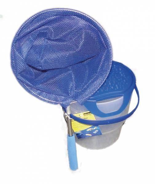 Idena Fischeimer mit Henkel, Teleskopkescher, blau