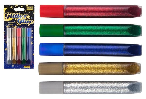 Idena Glitterglue, 5 Farben Metallic Glitter à 10,5ml