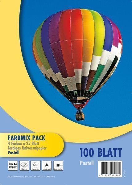 PVP Papierverarbeitung Kopierpapier Farbmix A4, 100 Blatt pastell