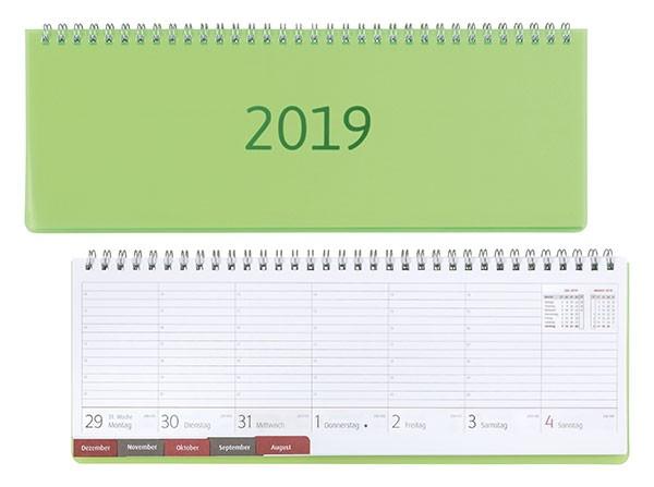 Idena Schreibtikalender .FSC-Mix 2019,Transparenz hellgrün Tischkalender