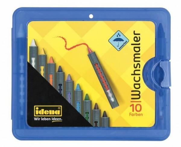 Idena Wachsmaler Box blau, 10 Stück mit Schiebehülse