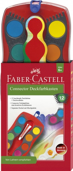 Faber-Castell Farbkasten Connector 12 Farben mit Deckweiß