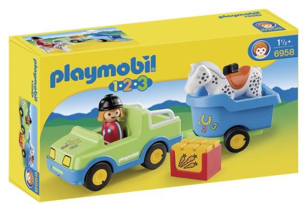 PLAYMOBIL 6958 -1 2 3 - PKW mit Pferdeanhänger