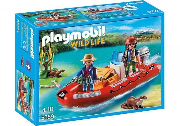 PLAYMOBIL Wild Live 5559 - Schlauchboot mit Wilderern Boot