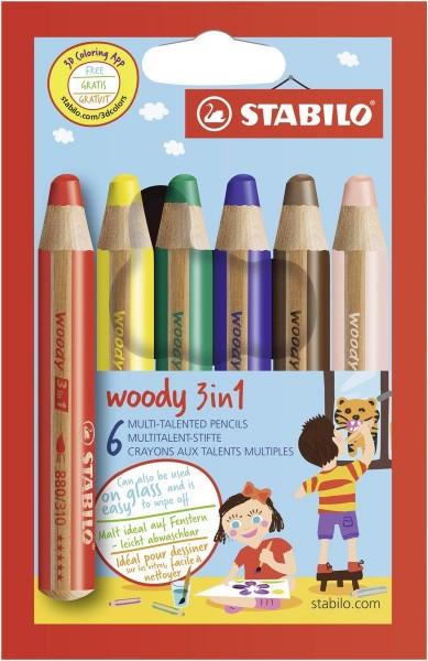 Buntstift, Wasserfarbe & Wachsmalkreide - STABILO woody 3 in 1 - 6er Pack - mit 6 verschiedene Farben