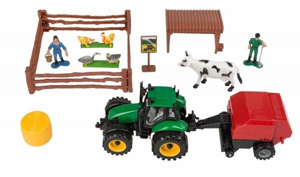 Idena 40016 Traktor Set Strohballenanhänger, mit Gatter, Hühnern und Ente