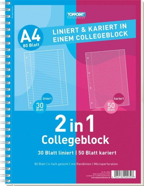 Toppoint Collegeblock DIN A4, Duo kariert+ liniert