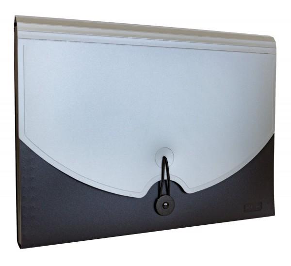 Idena Faechermappe Aufbewahrung Fächer Mappe A4 grau/schwarz