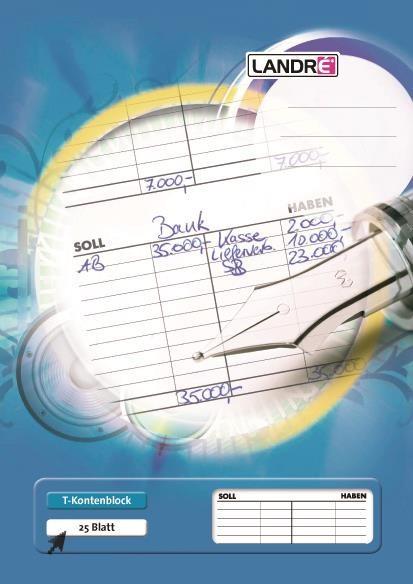 T-Kontenblock. Feines holzfreies Schreibpapier, 80 g/qm. 2fach-Lochung. Format: A4. Lineatur: T-Konten. Farbe: weiß. Blatt: 25.