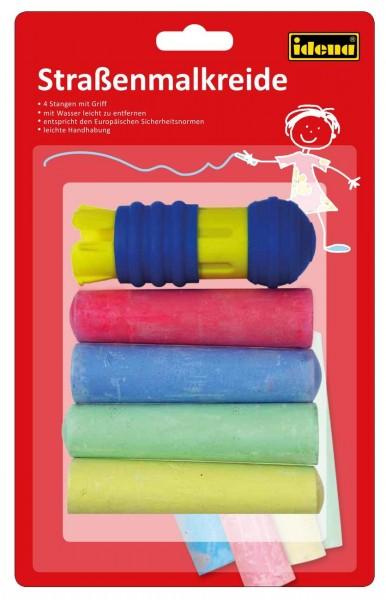 Straßenmalkreide, 4 Stangen/4 Farben, mit Griffhalter, farbig sortiert