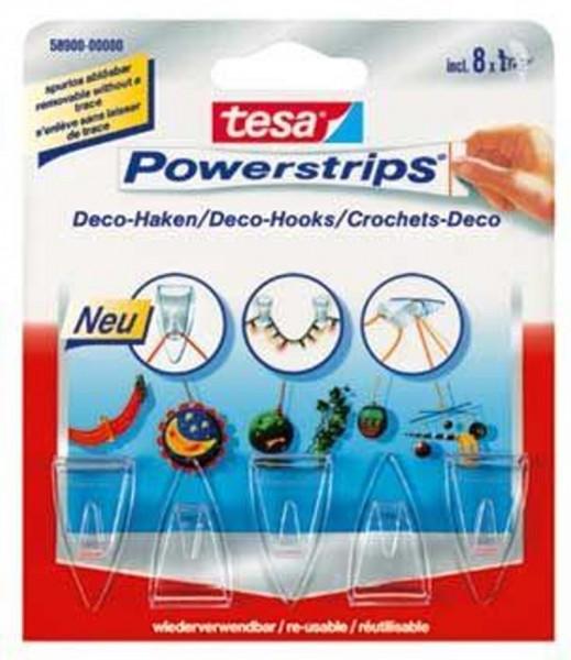 tesa Powerstrips® transparent Deco-Haken, 5 Haken/8 Strips