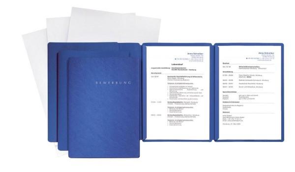 Pagna 3er Bewerbungsmappen Set blau Spezial 3.tlg mit Umschlag