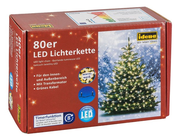Idena LED Lichterkette, 80er warm weiß,