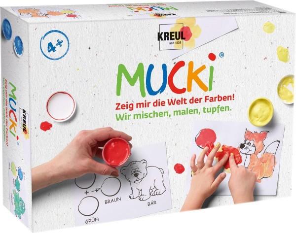Kreul Mucki Fingermalfarben-Set Wir mischen, malen, tupfen, 18-teilig