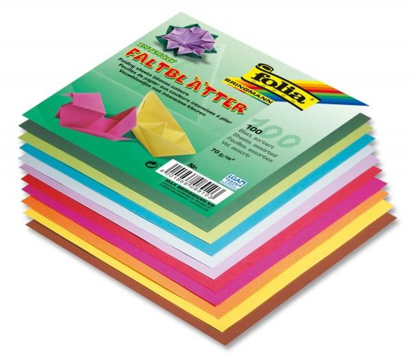 Folia 8920 - Faltblätter in 10 Farben, 100 Blatt, 20 x 20cm