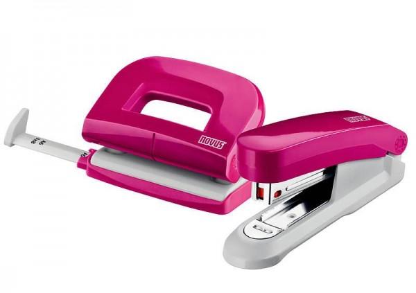 novus schreibtisch accessoire set fresh hefter e15 locher e210 pink gl nzend ebay. Black Bedroom Furniture Sets. Home Design Ideas