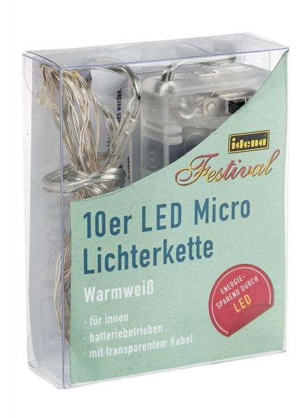 Idena LED Micro Lichterkette 10er für innen, warmweiss