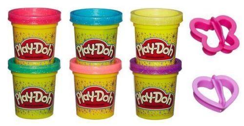 Hasbro Play-Doh Glitzerknete, 6 Stück A5417EU6 , Knete Spielknete