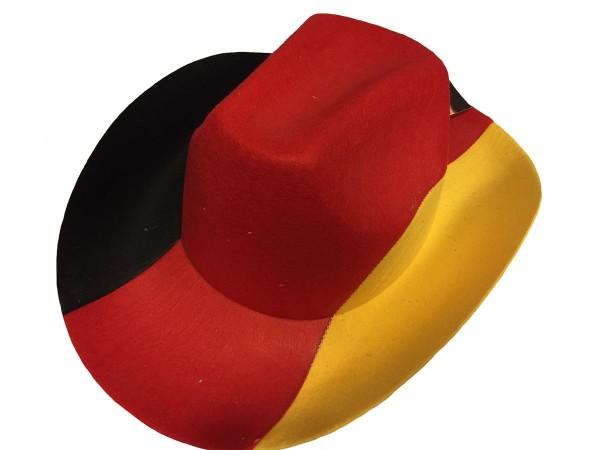Goodmark Cowboyhut Deutschland, 3-farbig schwarz/rot/gelb Hut