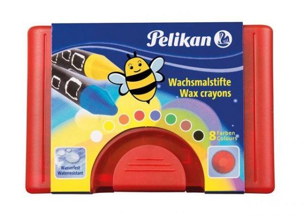 Pelikan Wachsmalstifte 665/8, 8 Stück in roter Box, rund