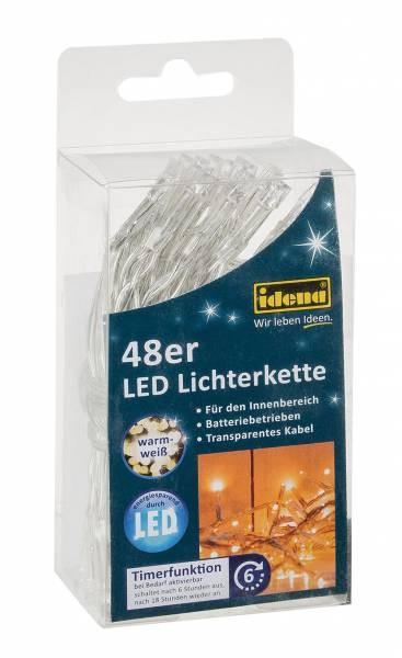 idena led lichterkette mit timer f r innen warmwei 48er batteriebetrieben ebay. Black Bedroom Furniture Sets. Home Design Ideas