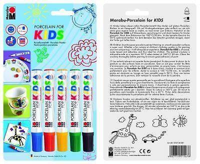 Marabu 12500081 - Porzellanmaler for Kids 5 Stück Porzellan Marker