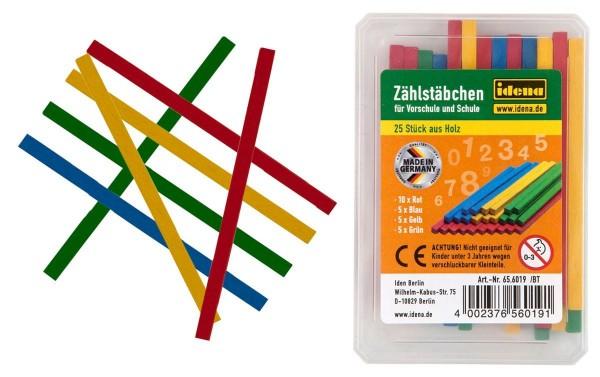 Idena Zählstäbchen 25 Stück farbig Holz