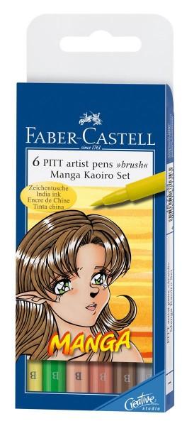 Faber-Castell Tuschestifte PITT artist pens Manga Kaoiro Set, 6 Stück